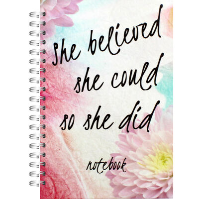 A5 Wiro She believed She Could Lined Notebook image number 1