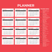 Month To View 2021 Giant Print Planner