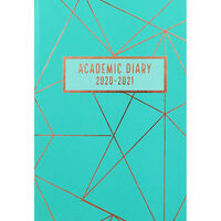 A5 Teal Geometric Day a Page 2020-21 Academic Diary