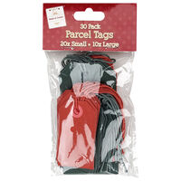 Red and Green Parcel Tags: Pack of 30