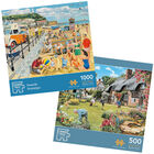 Seaside Nostalgia 1000 Piece & Cottage Garden 500 Piece Jigsaw Puzzle Bundle image number 1