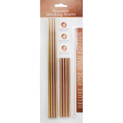 Rose Gold Stainless Steel Reusable Drinking Straws - 8 Pack image number 1