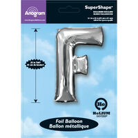34 Inch Silver Letter F Helium Balloon