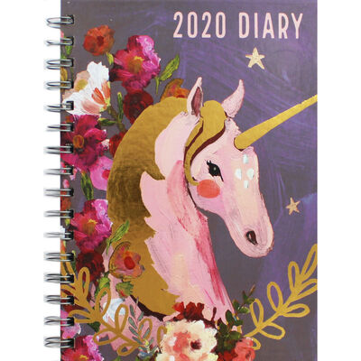 A5 Wiro Unicorn 2020 Week to View Diary image number 1