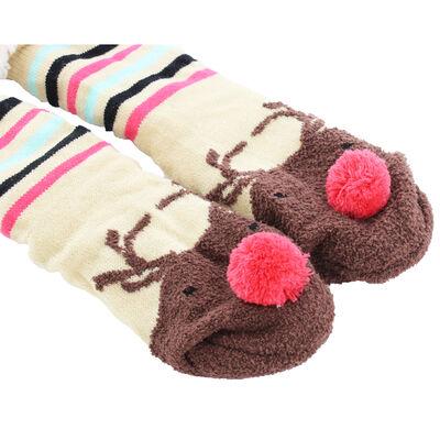 Festive Reindeer Pom Pom Slipper Socks - Size 6-8 image number 3