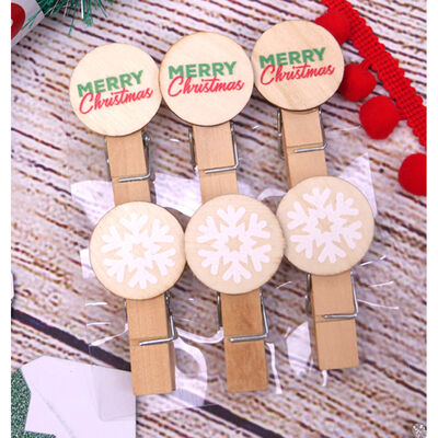 Decorative Wooden Pegs - Pack of 6 image number 2