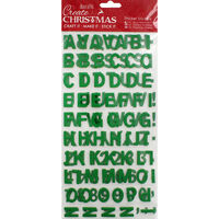 Green Glitter Letters Thick Christmas Stickers