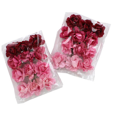 24 Pink Paper Flowers image number 1