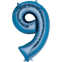 34 Inch Blue Number 9 Helium Balloon