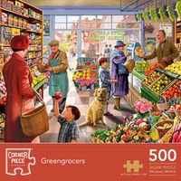 Greengrocers 500 Piece & Summer Stream 1000 Piece Jigsaw Puzzle with Portapuzzle Board Bundle