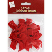 Red Ribbon Bows - Pack Of 15