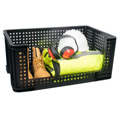Really Useful 64 Litre Open Front Crate - Black image number 1