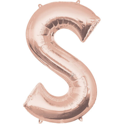 34 Inch Rose Gold Letter S Helium Balloon image number 1