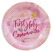 Pink First Holy Communion Paper Plates - 8 Pack