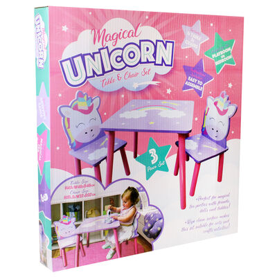 Magical Unicorn Wooden Table and Chairs Set image number 2