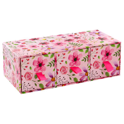 Pink Floral 3 Drawer Desk Organiser image number 3