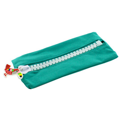 Green Canvas Oversized Zip Pencil Case image number 1