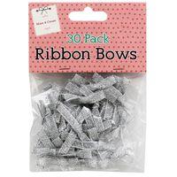 Silver Ribbon Bows – Pack of 30