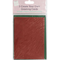 Create Your Own Red and Green 5x7 Greeting Cards - Pack Of 5