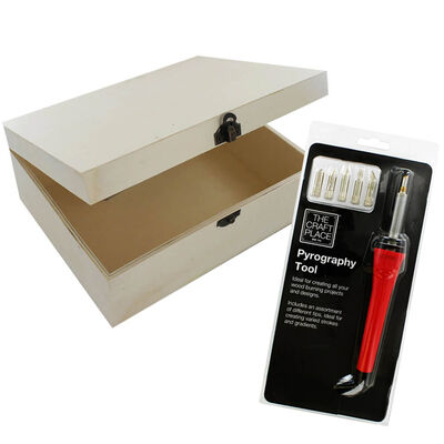 Pyrography Tool and Large Wooden Box Bundle image number 1