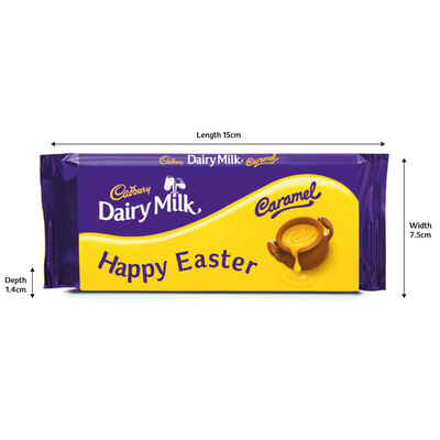 Cadbury Dairy Milk Caramel Chocolate Bar 120g – Happy Easter image number 2