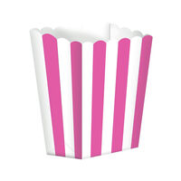 5 Pink Striped Paper Popcorn Favour Boxes