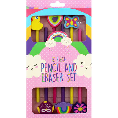 6 HB Pencils with Erasers - Assorted image number 1
