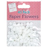 White Pearl Paper Flowers: Pack of 40