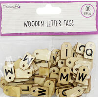 Dovecraft Essentials Wooden Letter Tags - 100 Pieces