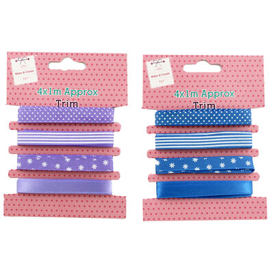 4 x 1m Pastel Ribbon Trims - Assorted image number 3