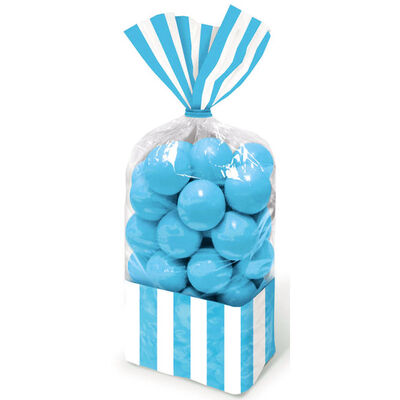 10 Blue Striped Cellophane Favour Bags image number 2