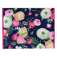 Navy and Pink Floral Reusable Shopping Bag