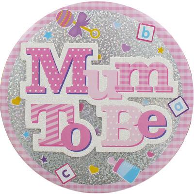 Pink Mum To Be Jumbo Badge image number 2