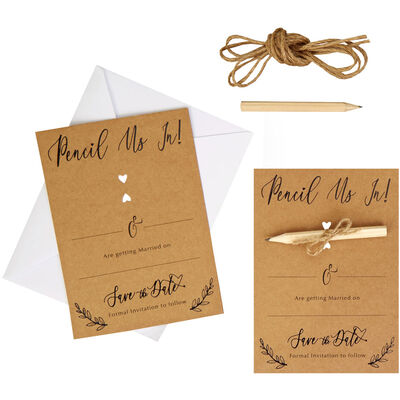 10 Kraft Wedding Save the Date Cards with Envelopes image number 3