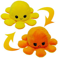 Reversible Octopus Plush Toy: Orange & Yellow