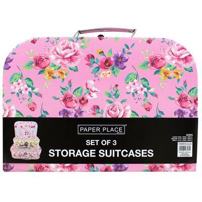 Vintage Floral Storage Suitcases: Set of 3 image number 3