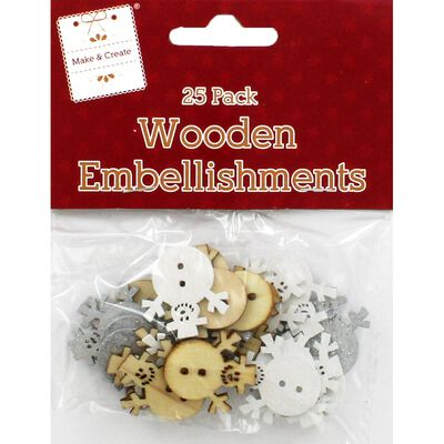 Wooden Christmas Snowman Embellishments: Pack of 25