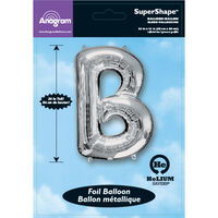34 Inch Silver Letter B Helium Balloon