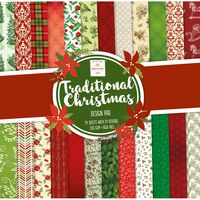 Traditional Christmas Paper Pad 12 x 12 Inch