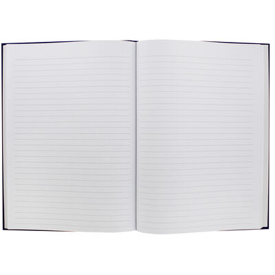 A4 Case Bound Plain Blue Lined Notebook image number 2