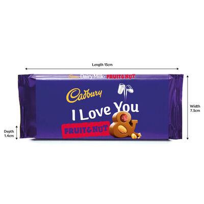 Cadbury Dairy Milk Fruit & Nut Chocolate Bar 110g - I Love You image number 2