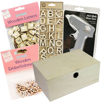 Easter Create Your Own Wooden Box: 30 x 20 x 13cm Bundle image number 1