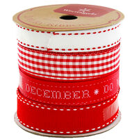 Red and White Luxury Christmas Ribbon: Pack Of 4