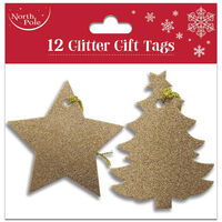 Star & Tree Glitter Gift Tags: Pack of 12