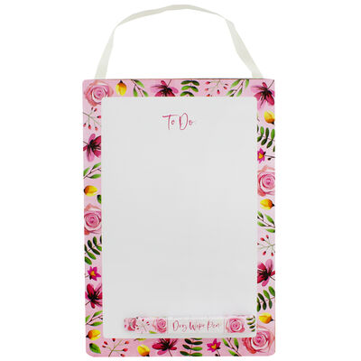 A4 Floral Dry Wipe To Do List Board with Pen image number 1