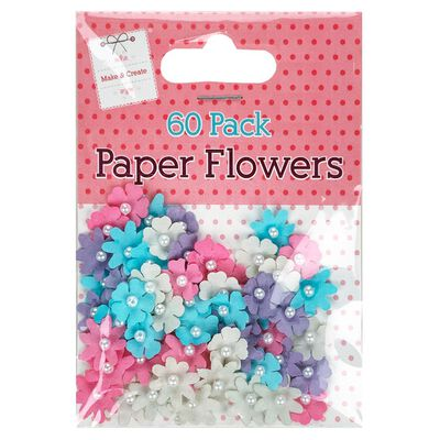 Multi-Coloured Paper Flowers: Pack of 60 image number 1