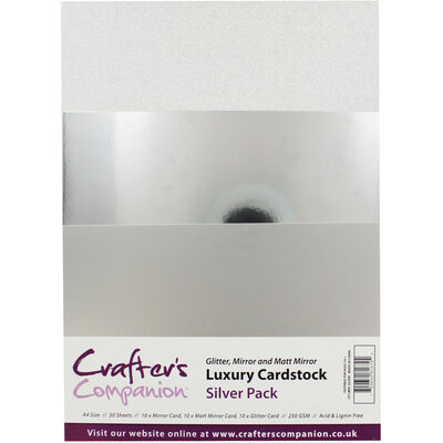 Crafters Companion A4 Luxury Cardstock Pack - Silver image number 1