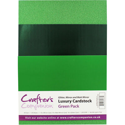 Crafters Companion A4 Luxury Cardstock Pack - Green image number 1