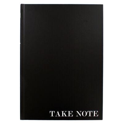 A4 Case Bound Plain Black Lined Notebook image number 1