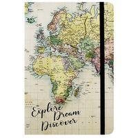 A5 World Map Design Lined Case Bound Notebook